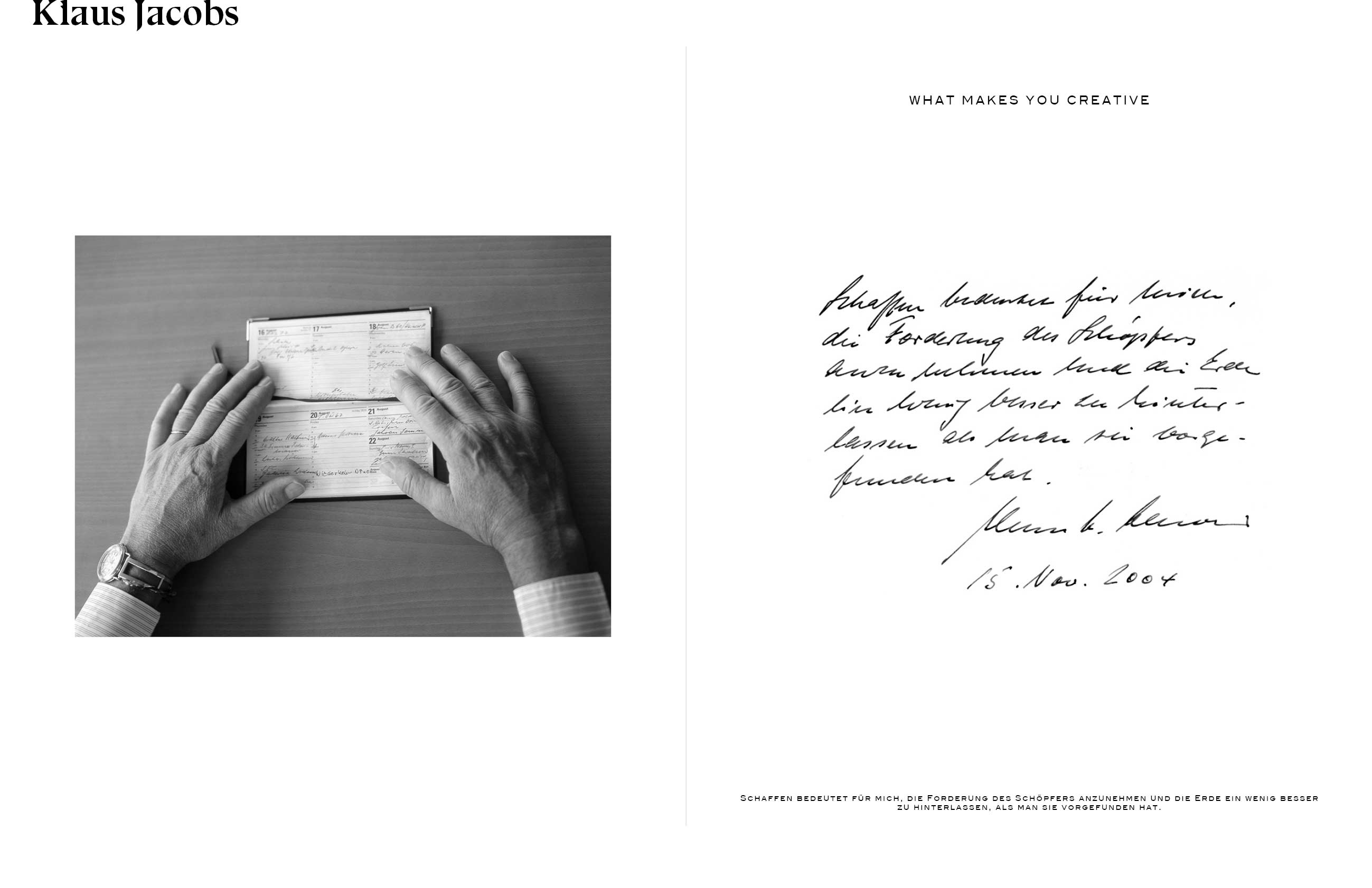 Klaus Jacobs, his hands and handwriting - FRANCO TETTAMANTI